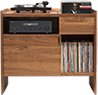 Unison Vinyl Storage Cabinet with flip-style LP storage bins and room for 330 LPs. It features convenient flip-style LP storage access. Crafted from premium North American hardwoods and focused on premium vinyl storage.